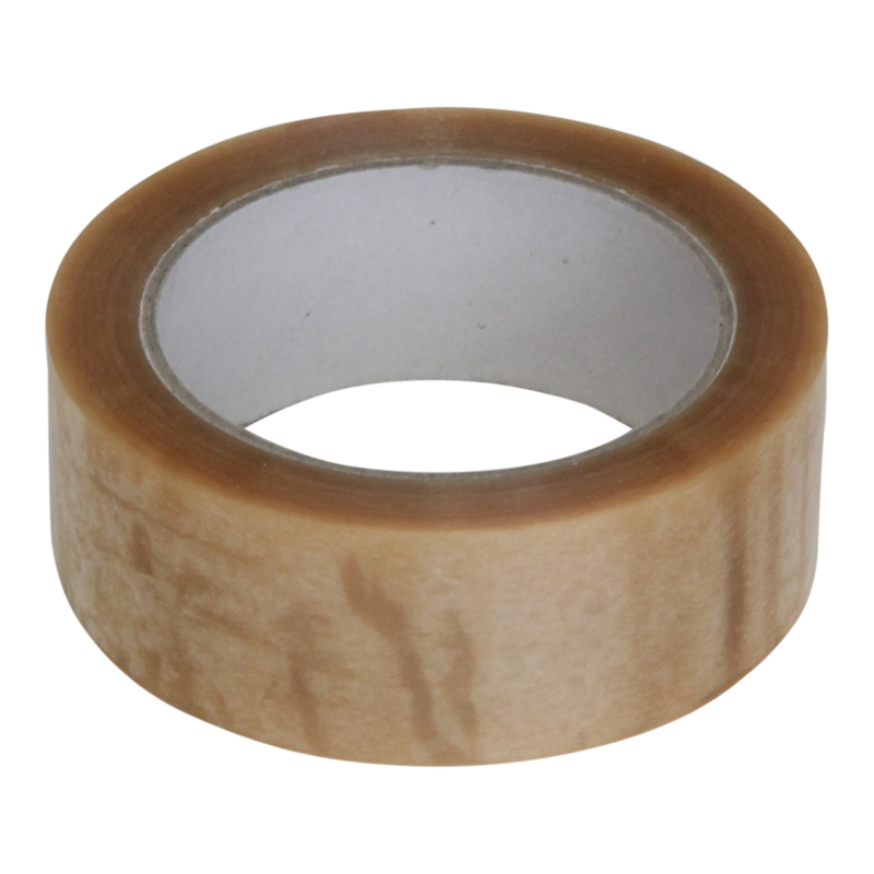 Tape 38mm 28my PVC Solvent 66m op rol Transparant 1